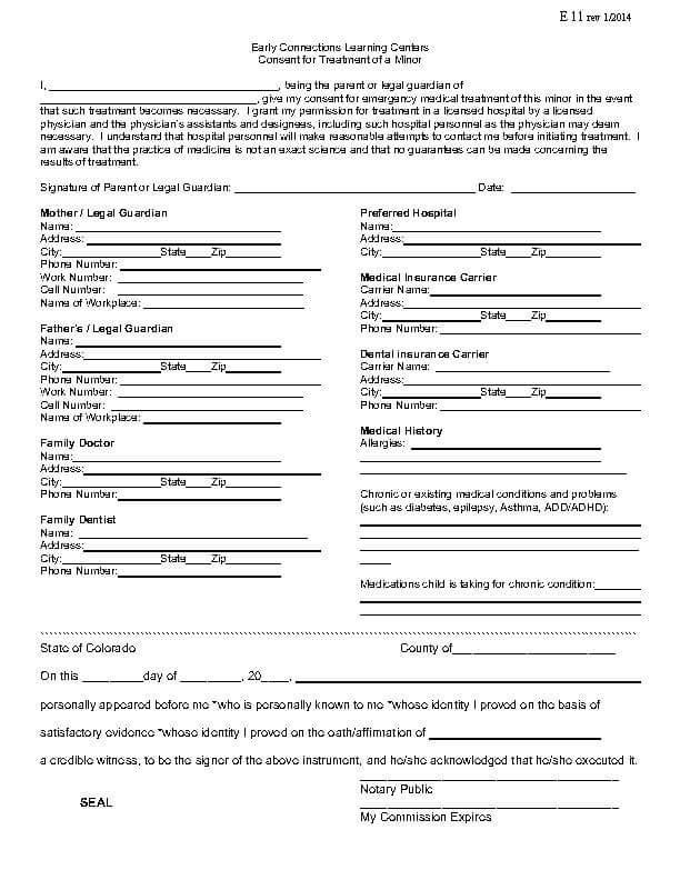 Release & Consent Forms – Early Connections Learning Center